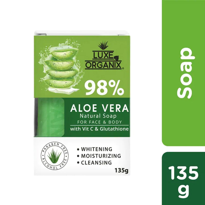 Luxe Organix Ph 98% Aloe Vera Natural Soap with Vitamin C and Glutathione