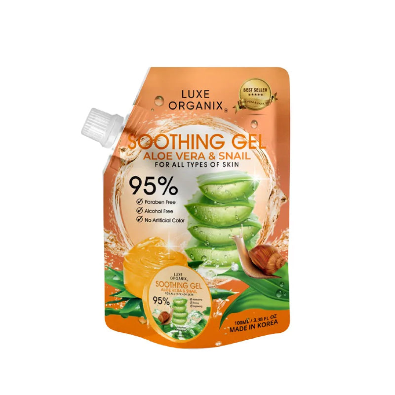 Luxe Organix Ph Aloe Vera & Snail Soothing Gel 95% Sachet 100 ml