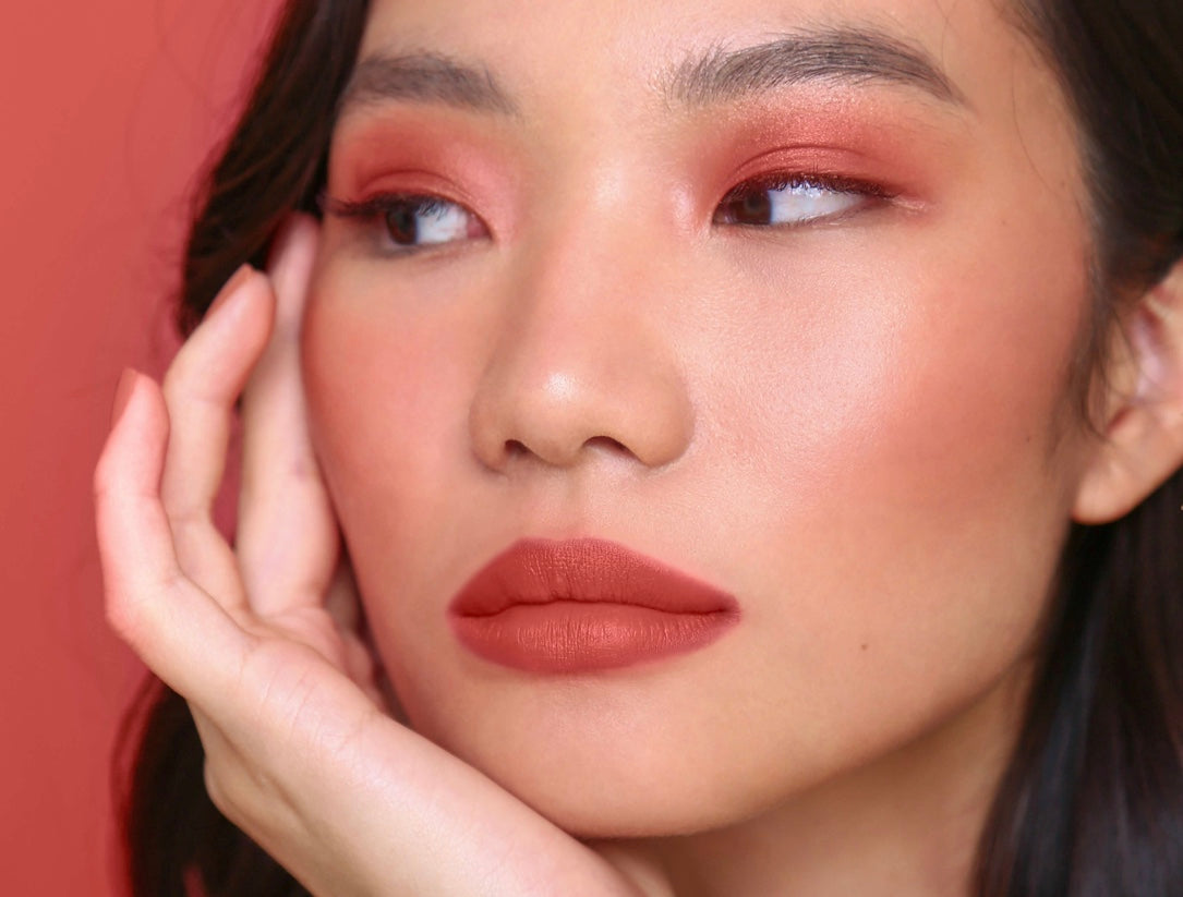 Asian model wearing Sunnies Face Fluffmatte girl crush | terracotta rose
