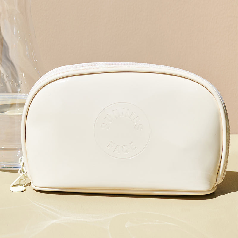 Sunnies Face Patent Pouch - Cream