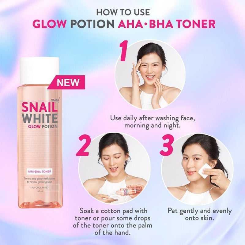 SNAILWHITE Glow Potion AHA-BHA Toner How to Use