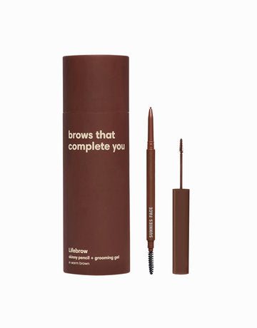 Lifebrow Duo skinny pencil + grooming gel - Warm Brown
