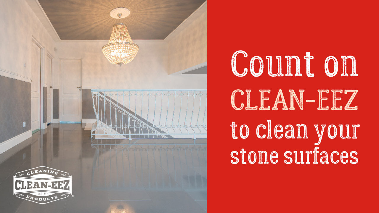 """Text displaying """"Count on Clean-eez to clean you stone surfaces """" with shiny stone flooring"""