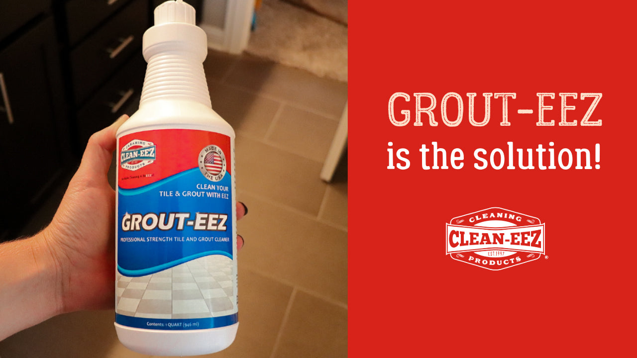 """Text displaying """"Grout-eez is the solution"""" with a bottle of Grout-eez to the left"""