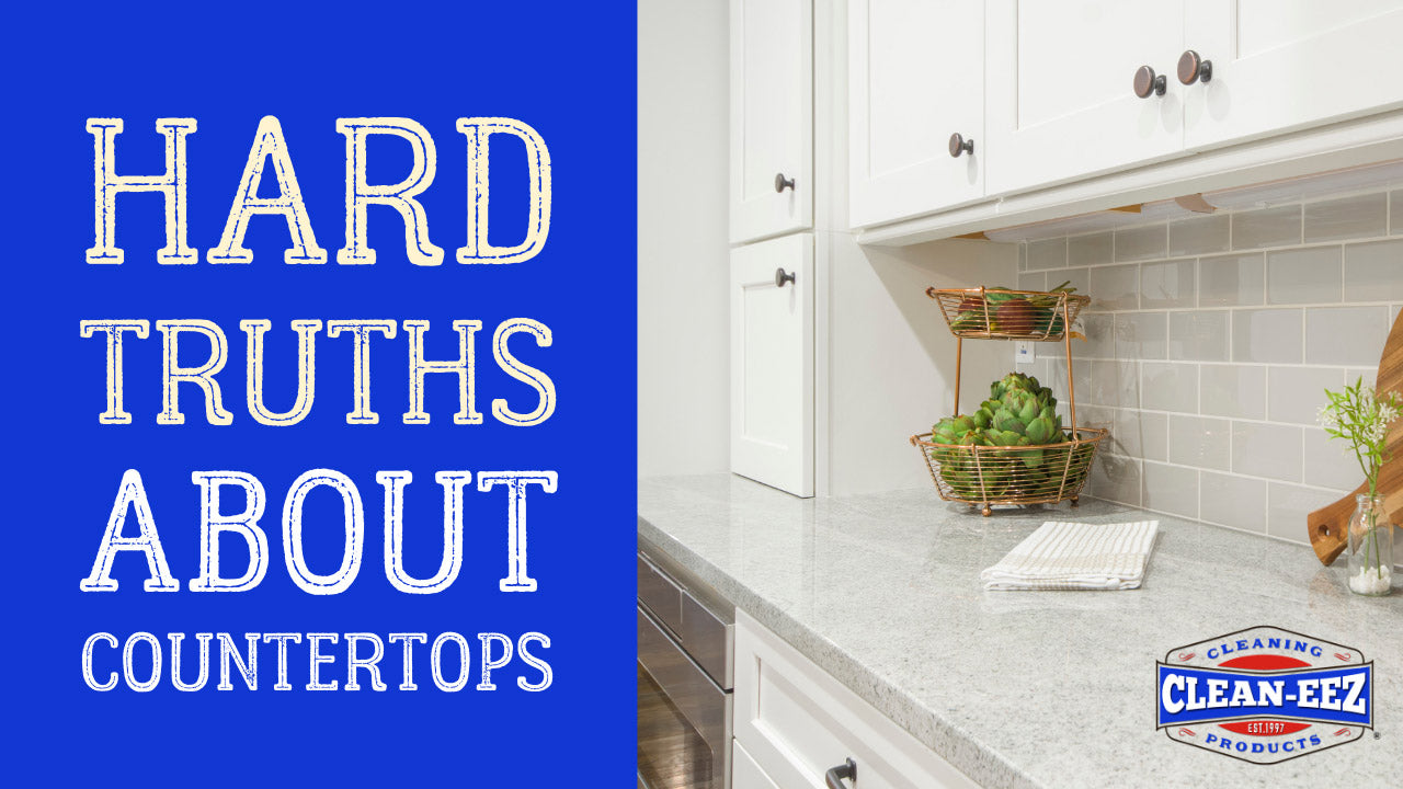 """Text displaying """"Hard truths about countertops"""" with a marble countertop to the right"""
