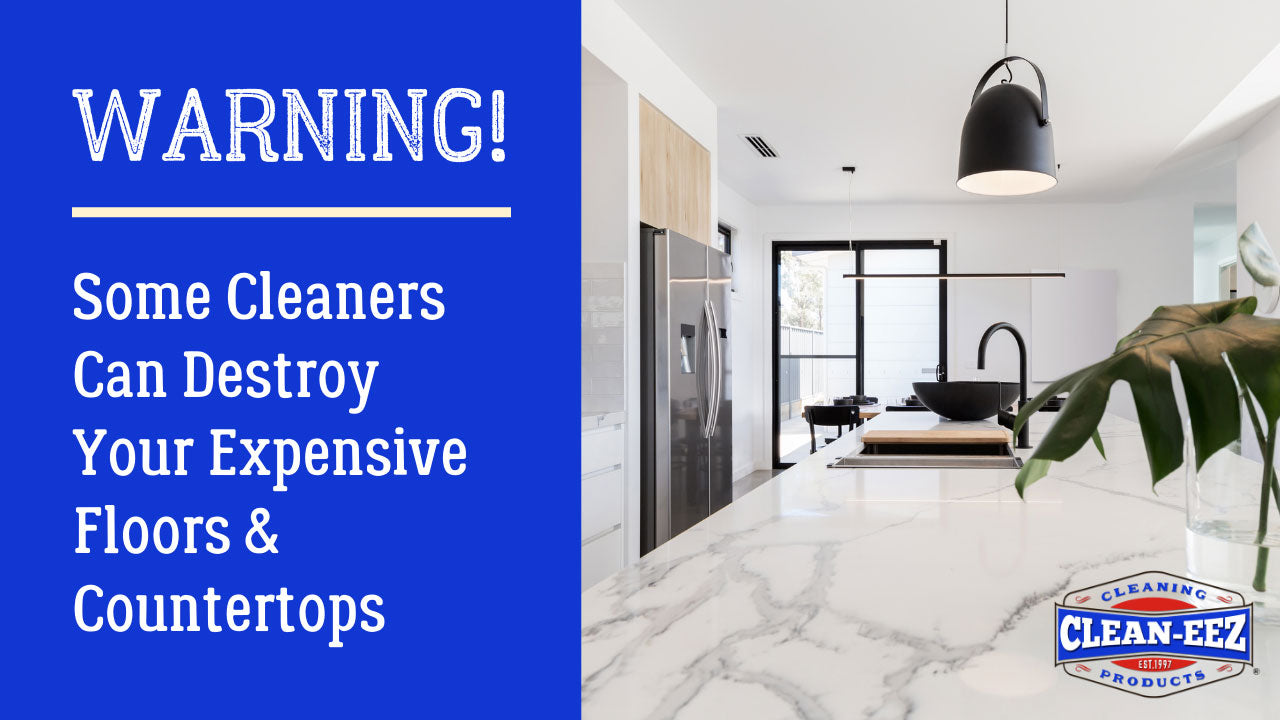 """Text displaying """"Warning! Some cleaners can destroy your expensive floors & countertops"""""""