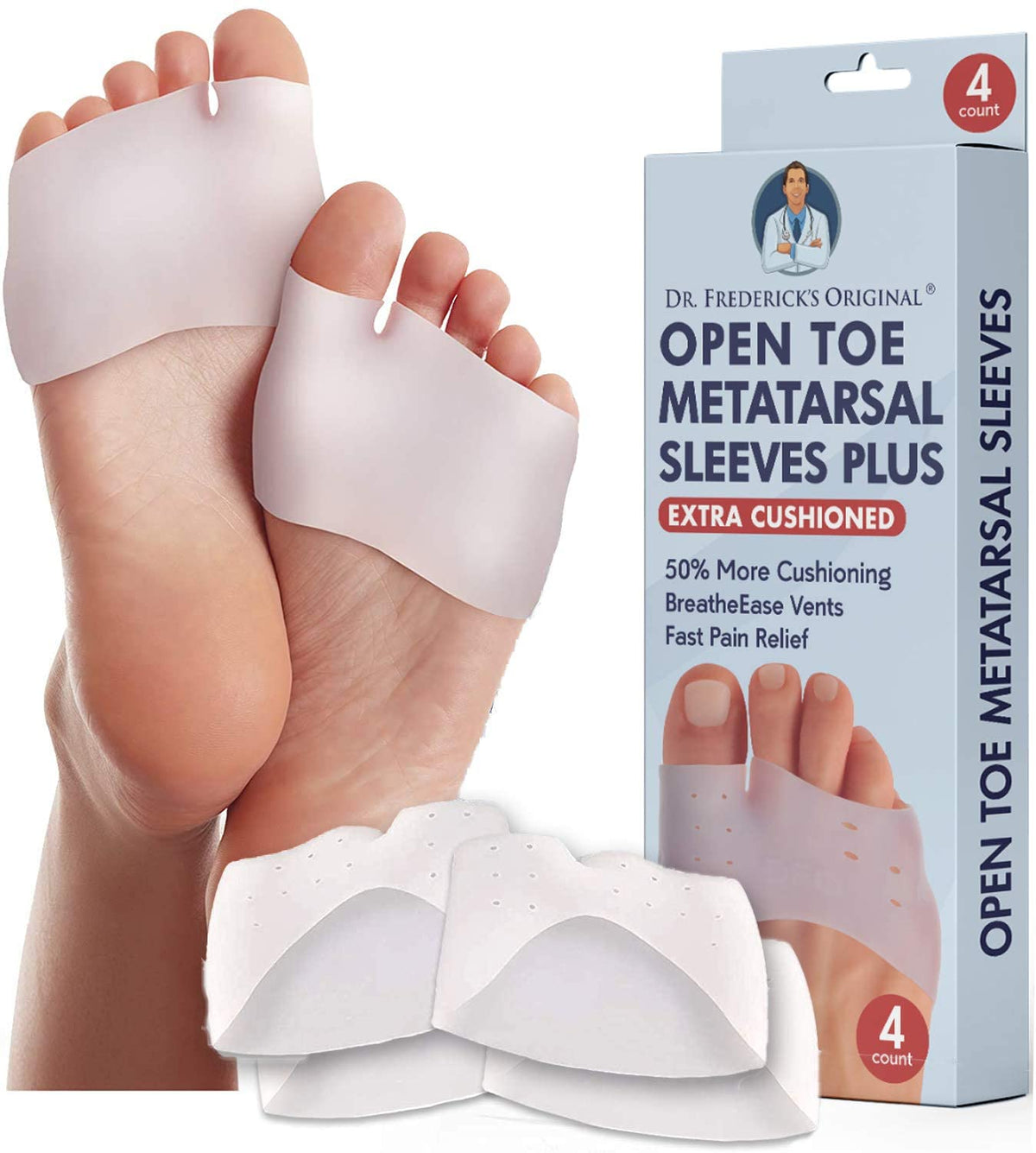 Dr. Frederick's Original Metatarsal Sleeves Plus - 4 Pieces - 50% More Cushioning - Fit Guarantee - Metatarsal Pads for Women & Men Foot Pain Dr. Frederick's Original