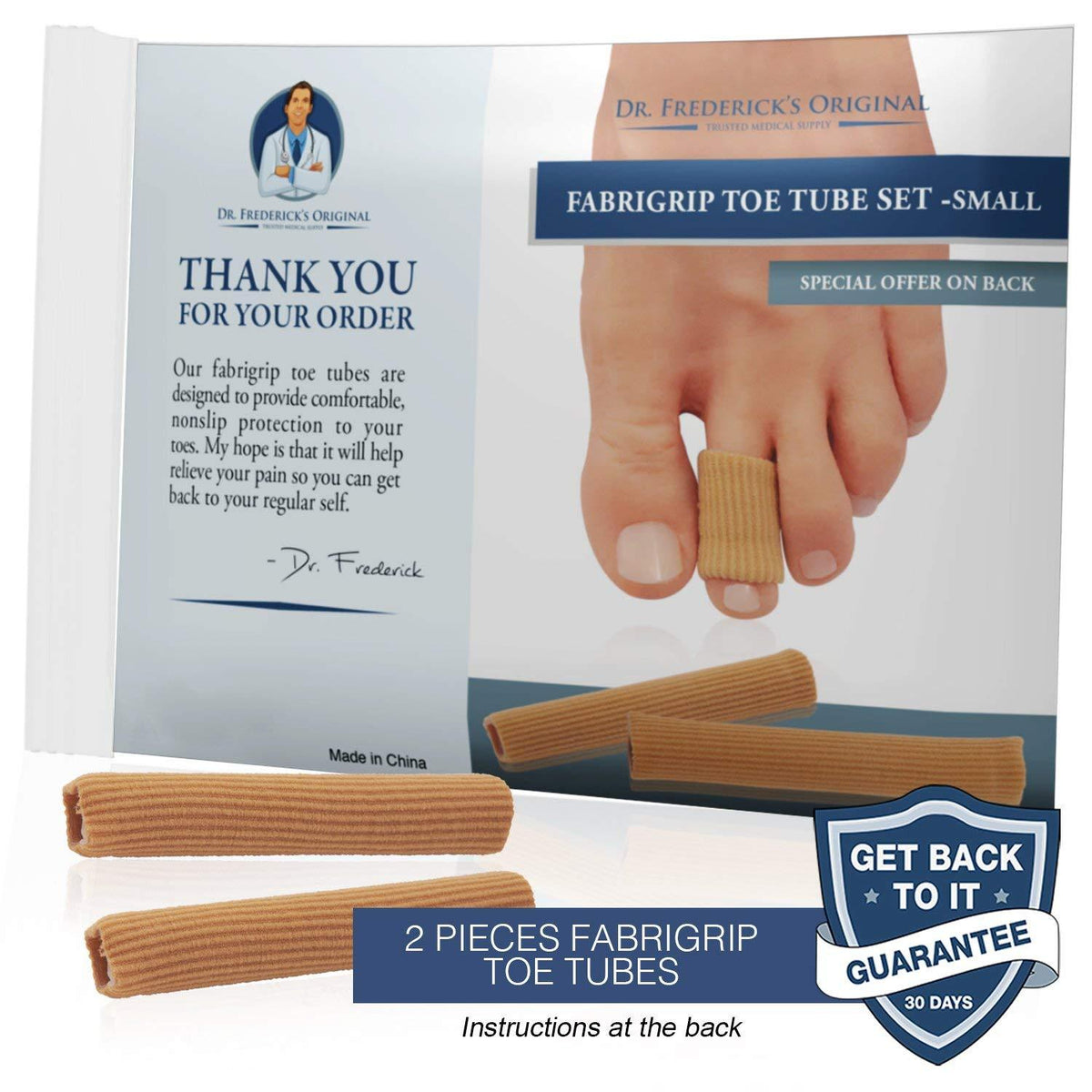 Dr. Frederick's Original Fabrigrip Toe Protectors -- 4 Pieces - for Corns, Calluses, Blisters, and Ingrown Toenails Foot Pain Dr. Frederick's Original