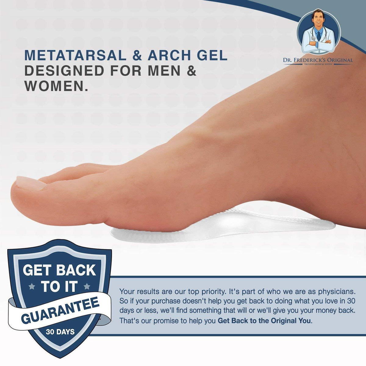 Dr. Frederick's Original Self-Adhesive Metatarsal & Arch Support Insole Gel Pads -- 2 Pieces - for Metatarsal and Arch Support Foot Pain Dr. Frederick's Original