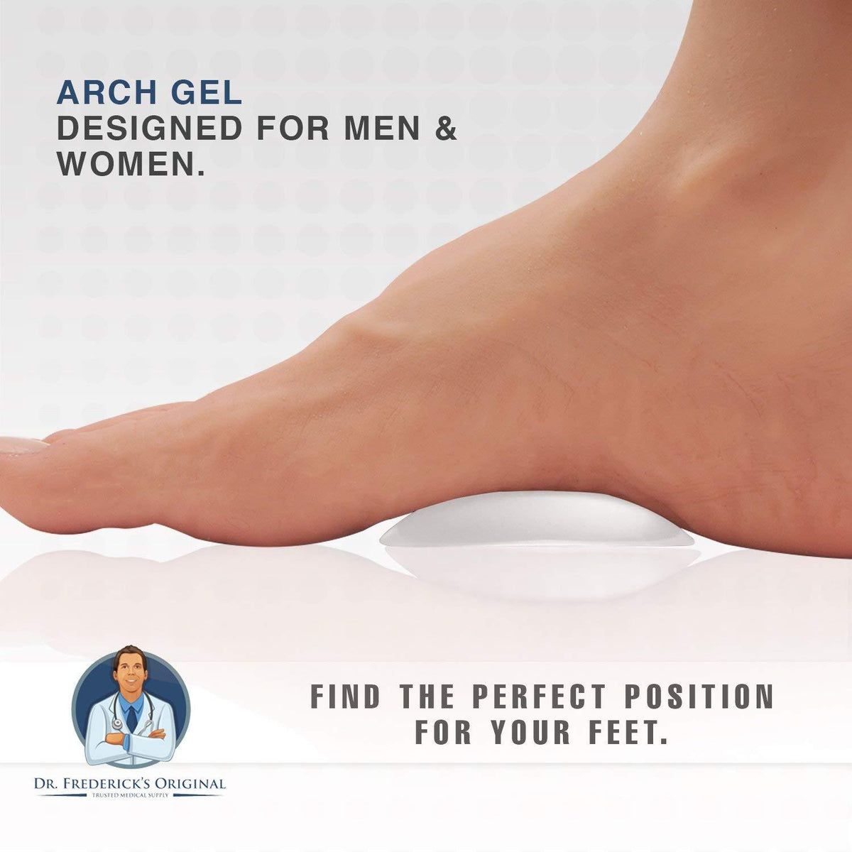 Dr. Frederick's Original Peel & Stick Arch Support Gel Pads -- 4 Pieces - for Arch Pain and High Arches Foot Pain Dr. Frederick's Original