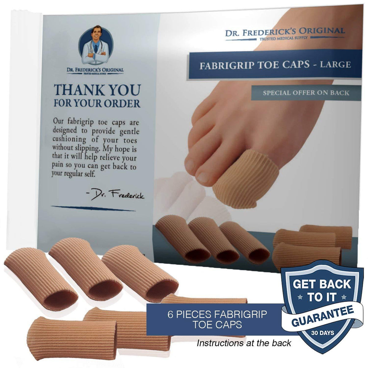 Dr. Frederick's Original Fabrigrip Toe Caps -- 4 Pieces - for Corns, Calluses, Blisters, and Ingrown Toenails Foot Pain Dr. Frederick's Original Large