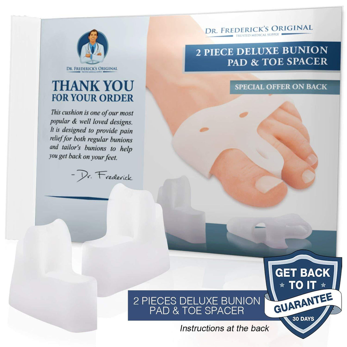 Dr. Frederick's Original Deluxe Bunion Pad & Toe Spacer -- 2 Pieces - for Bunions and Tailor's Bunions Foot Pain Dr. Frederick's Original