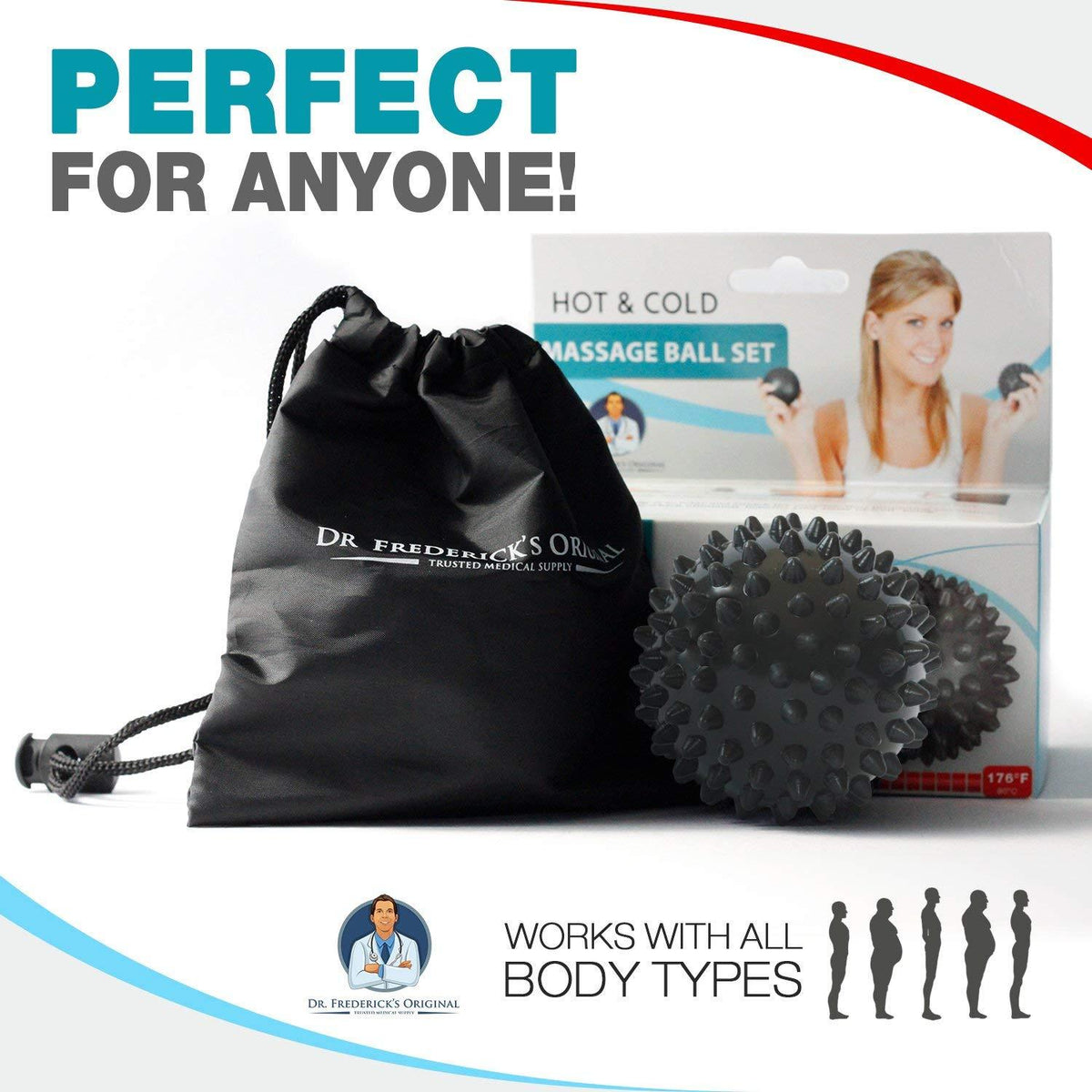 Dr. Frederick's Original Hot & Cold Massage Ball Set - Temperature Sensitive Massage Balls - for Deep Massage, Plantar Fasciitis, and Trigger Points Back Pain Dr. Frederick's Original