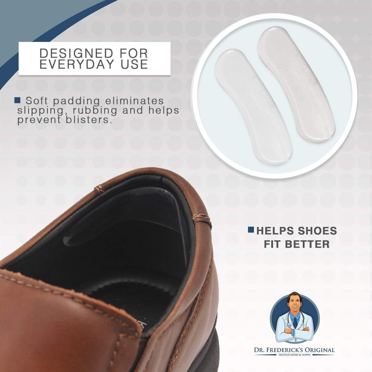 Dr. Frederick's Original Protective Flexible Heel Grip Set -- 10 Pieces - for Preventing Blisters & Cuts with Dress Shoes Foot Pain Dr. Frederick's Original