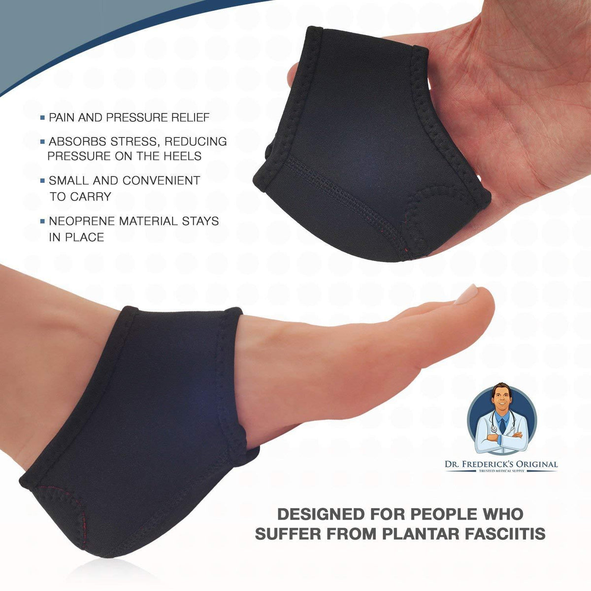 Dr. Frederick's Original Neoprene Heel Guard Set -- 2 Pieces - for Heel Pain, Plantar Fasciitis, Heel Spurs, and Cracked Heels Foot Pain Dr. Frederick's Original