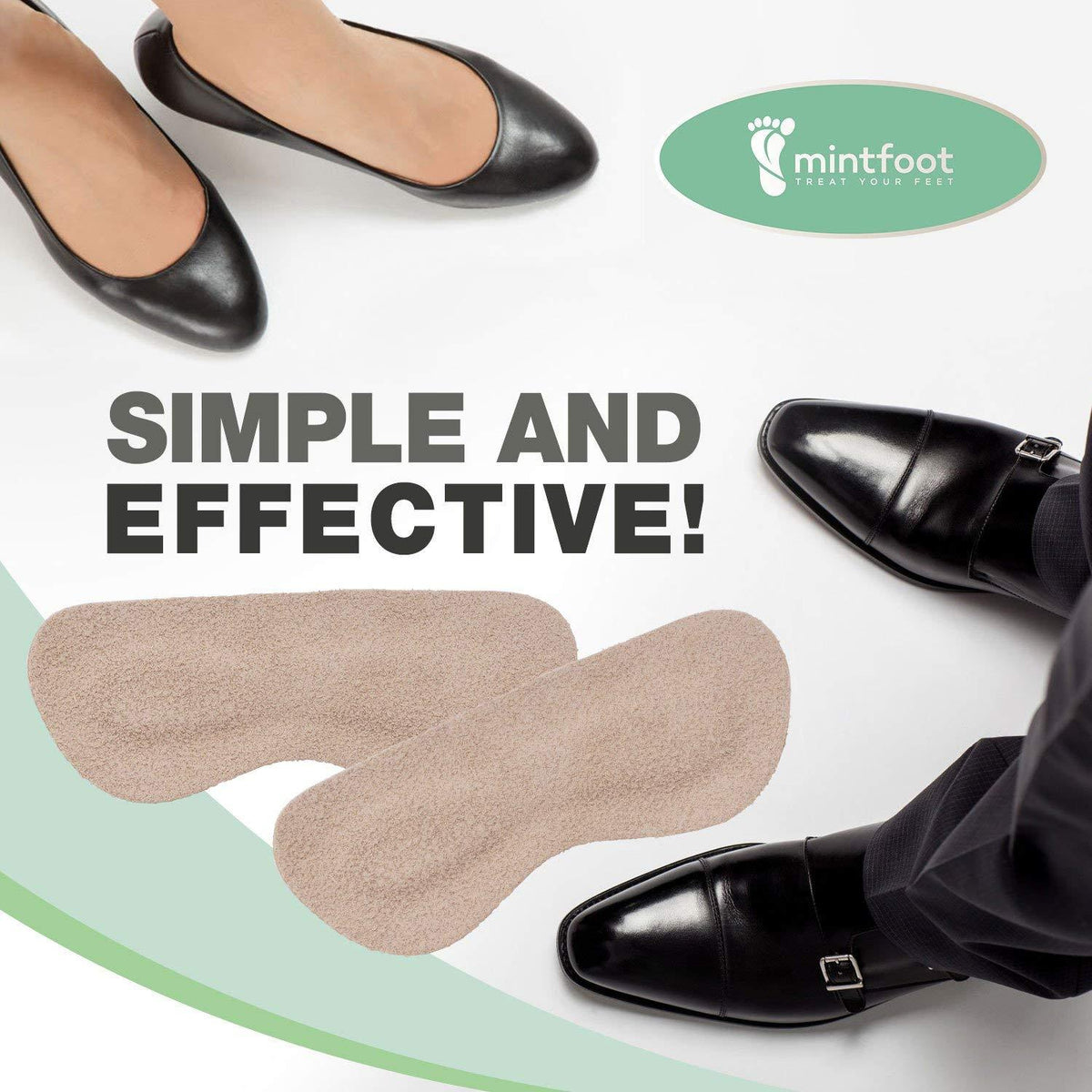 Mintfoot Leather Heel Grips -- 10 Pieces - for Loose Fitting Shoes, Heel Protection, and Blisters Foot Pain Dr. Frederick's Original