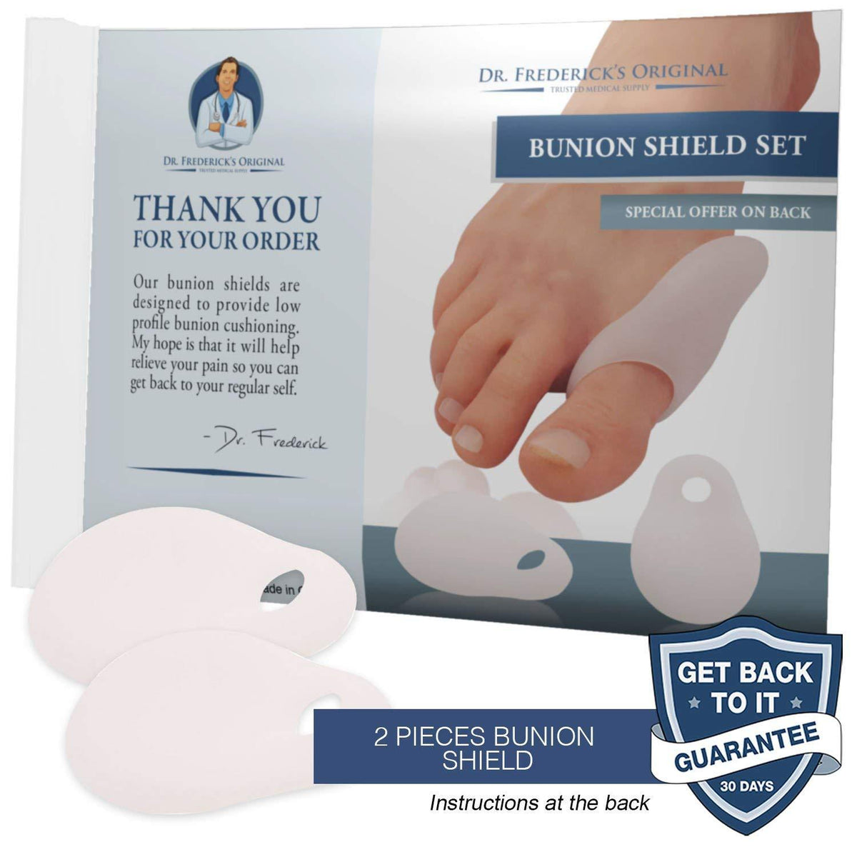 Dr. Frederick's Original Low-Profile Bunion Cushion Set -- 2 Pieces - for Targeted Cushioning of Bunions Foot Pain Dr. Frederick's Original
