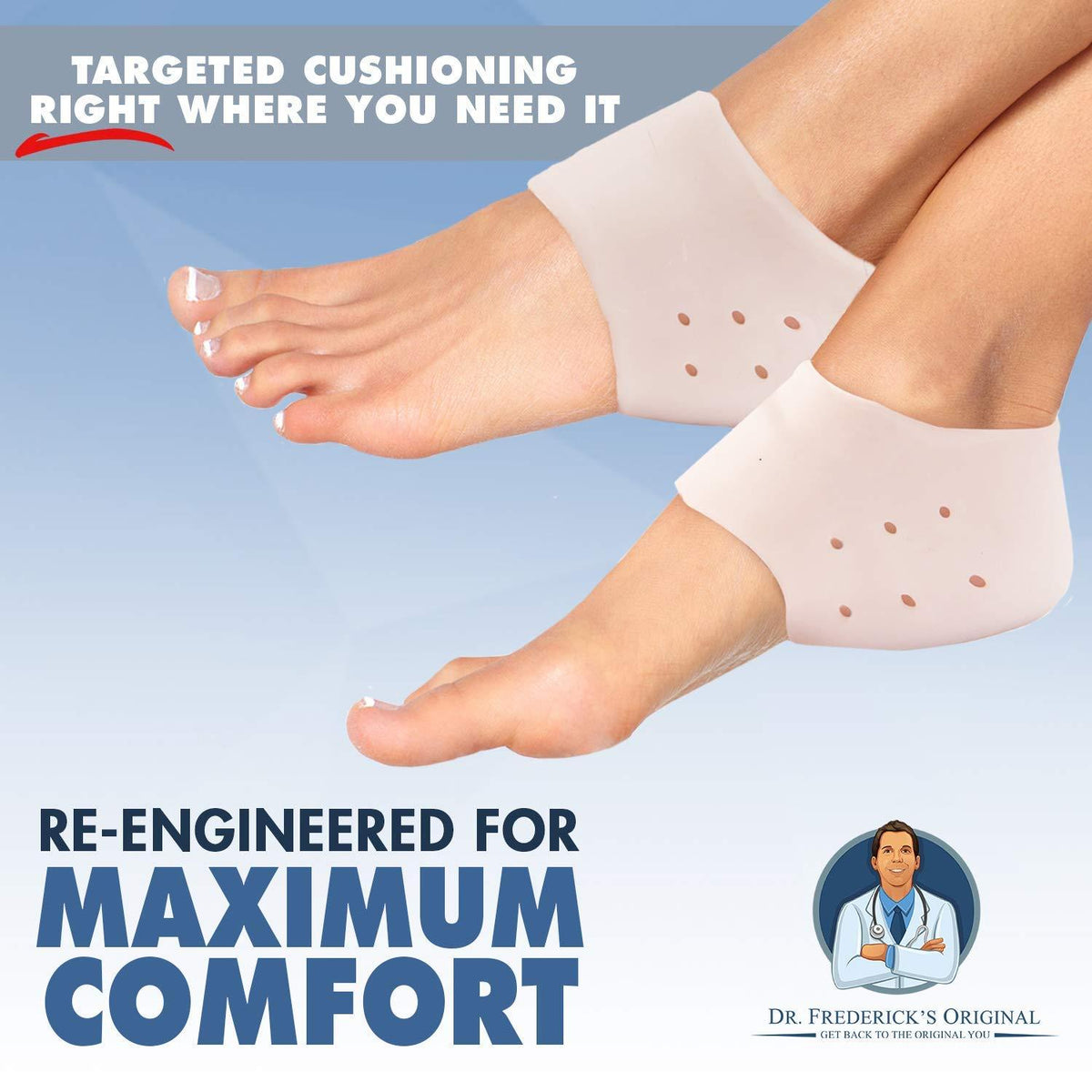 Dr. Frederick's Original Gel Heel Protectors -- 2 Pieces - for Heel Pain, Cracked Heels, Heel Spurs, and Plantar Fasciitis Foot Pain Dr. Frederick's Original