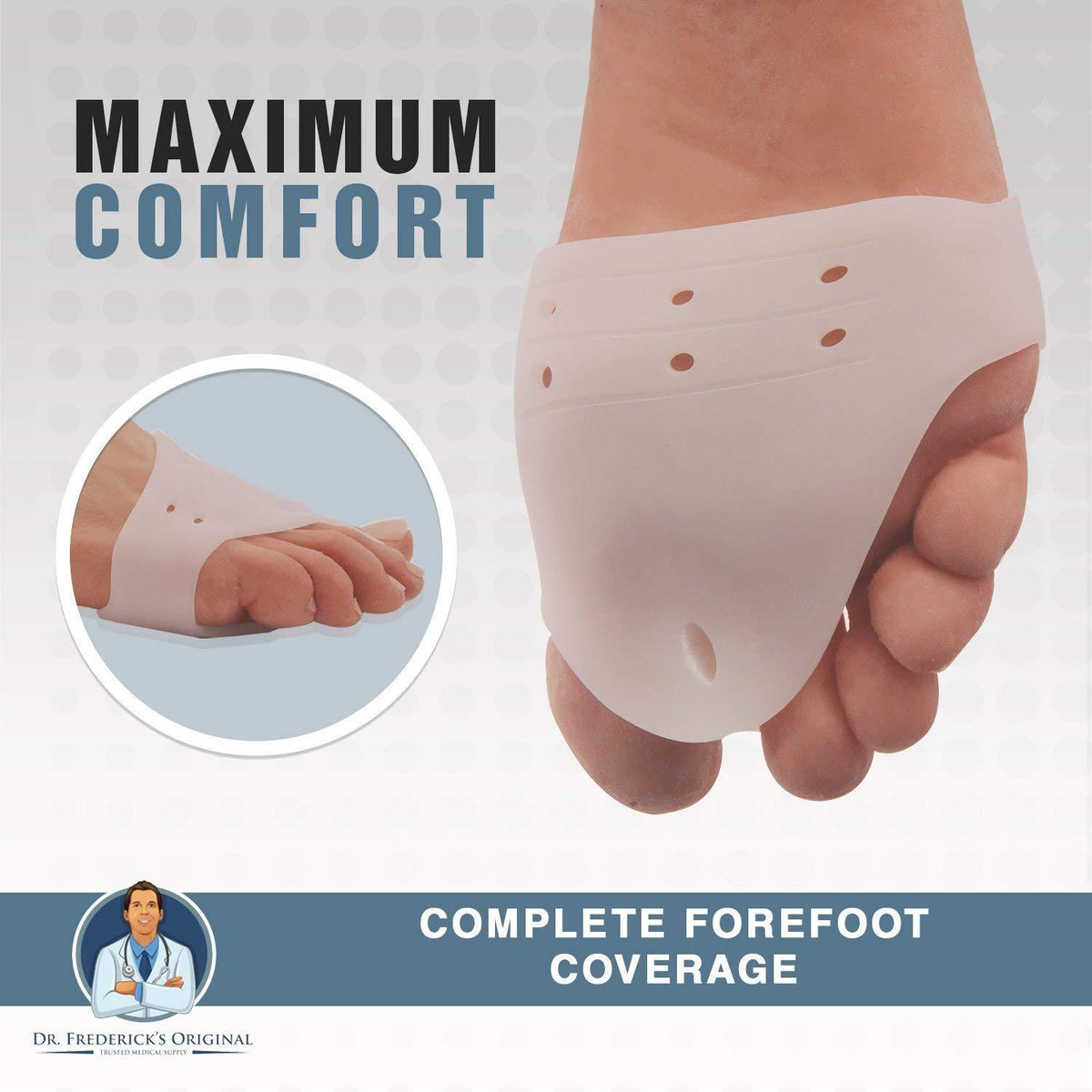 Dr. Frederick's Original Deluxe Metatarsal Cushion & Bunion Pad -- 2 Pieces - for Forefoot Pain, Bunions, and Tailor's Bunions Foot Pain Dr. Frederick's Original