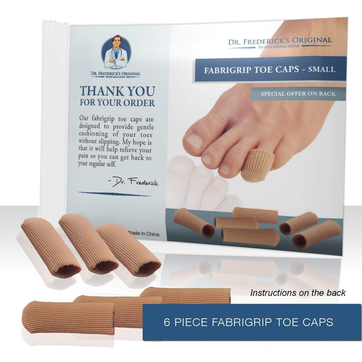 Dr. Frederick's Original Fabrigrip Toe Caps -- 4 Pieces - for Corns, Calluses, Blisters, and Ingrown Toenails Foot Pain Dr. Frederick's Original Small