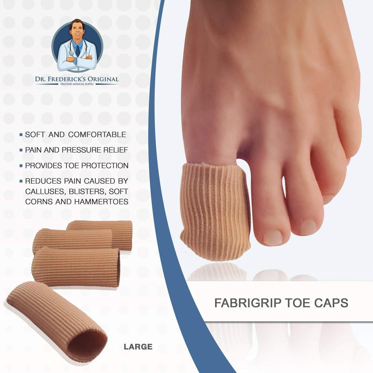 Dr. Frederick's Original Fabrigrip Toe Caps -- 4 Pieces - for Corns, Calluses, Blisters, and Ingrown Toenails Foot Pain Dr. Frederick's Original