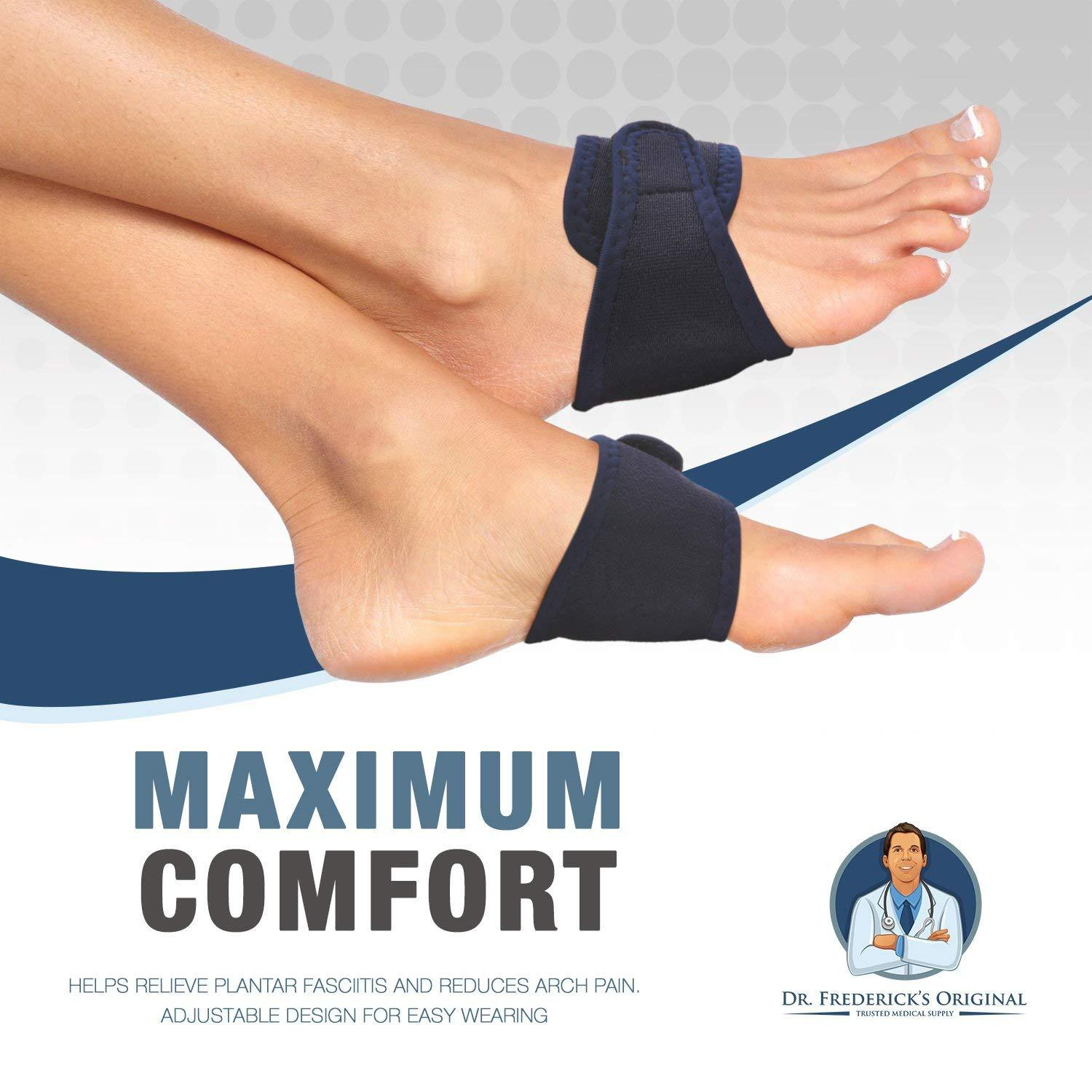 Two Orthotic Insole Wraps for Plantar Fasciitis and Flat Feet Fast Relief of Foot Pain Dr Frederick/'s Original Arch Support Brace Set