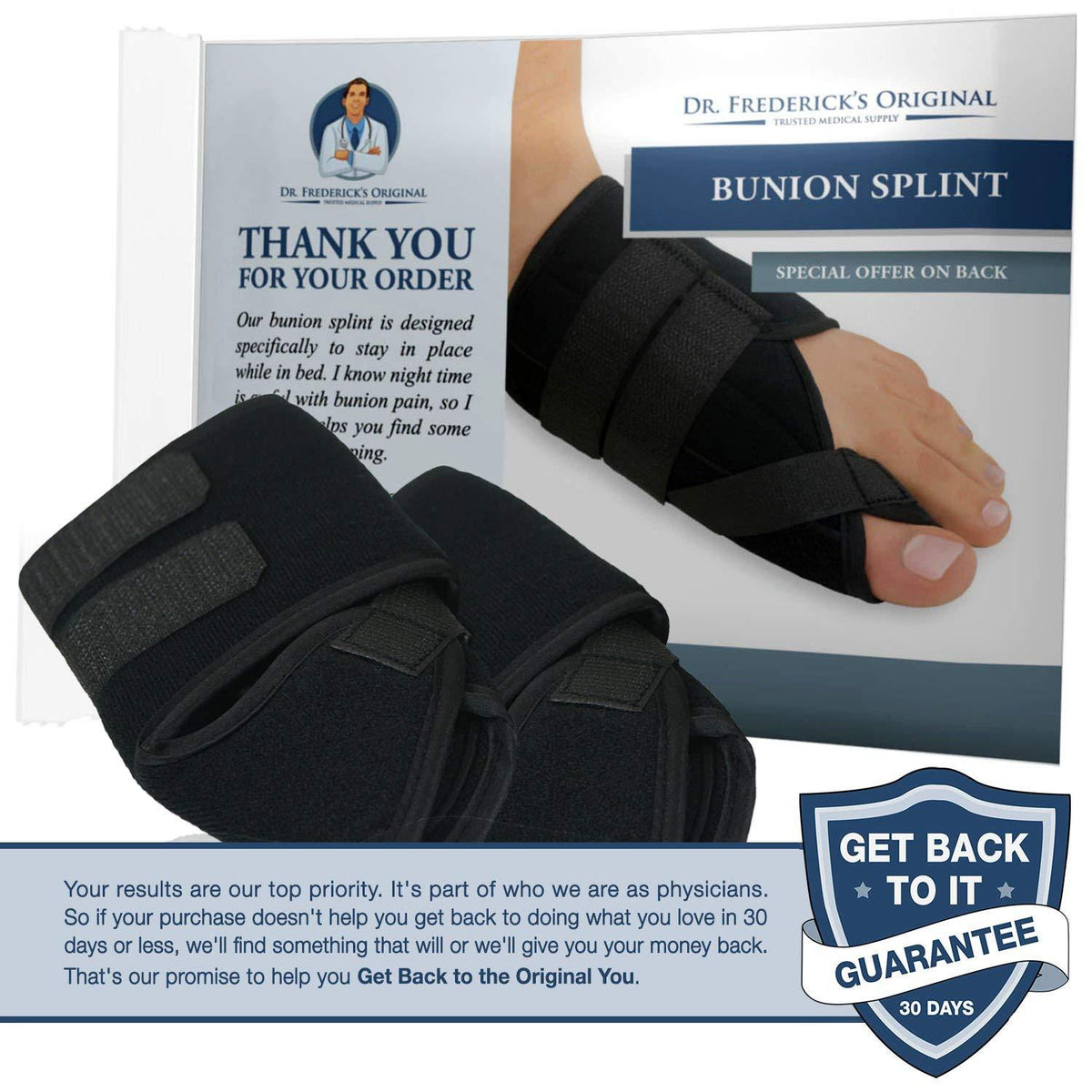 Dr. Frederick's Original Nighttime Bunion Splints -- 2 Pieces - for Night Splinting of Bunions Foot Pain Dr. Frederick's Original