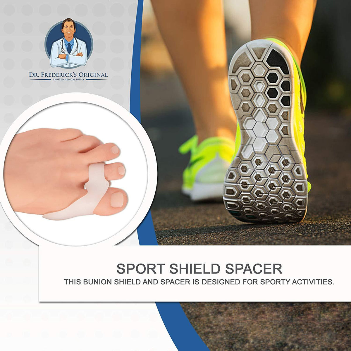Dr. Frederick's Original Sport Bunion Pad & Toe Spacer Set -- 2 Pieces - for Active People with Bunions Foot Pain Dr. Frederick's Original