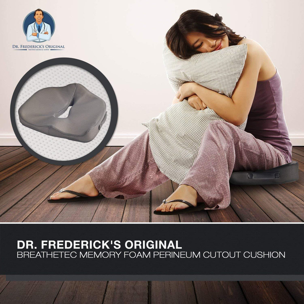 Dr. Frederick's Original BreatheTEC Memory Foam Perineal Cushion - for Perineal Pain, Post-Partum Pain, and Prostatitis Back Pain Dr. Frederick's Original