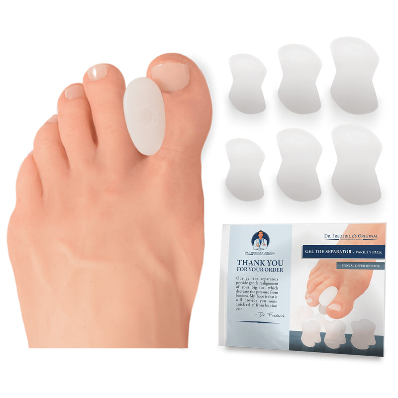 Dr. Frederick's Original Gel Toe Separator Variety Pack -- 6 Pieces - for Bunions and Overlapping Toes Foot Pain Dr. Frederick's Original
