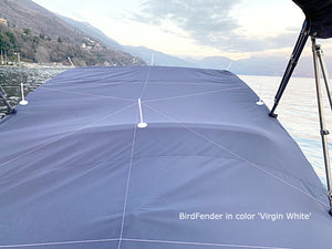 BirdFender Boat Cover Set with 18 Pylons, Virgin White Color