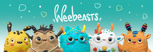 Giggle of weebeasts with weebeasts logo  popcorn and sparkles
