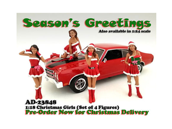 Christmas Girls 4 pieces Figure Set for 1:18 Scale Diecast Model Cars by American Diorama