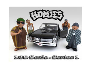 "\Homies"" Figure Set of 4pc For 1:18 Scale Diecast Model Cars by American Diorama"""