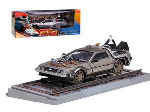 "Delorean From Movie \Back To The Future 3"" Railroad Time Machine 1/18 Diecast Model Car by Sunstar"""