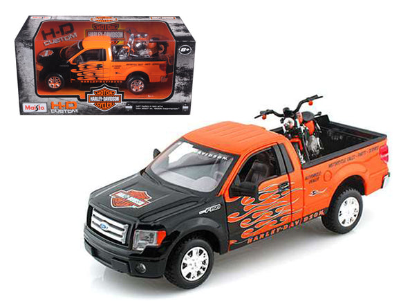 2010 Ford F-150 STX Pickup 1/27 Orange with Flames & 2007 XL1200N Nightster Harley Davidson 1/24 by Maisto