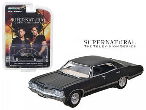 "1967 Chevrolet Impala Sedan 4 Doors Black from \Supernatural"" (2005) TV Series 1/64 Diecast Model Car by Greenlight"""
