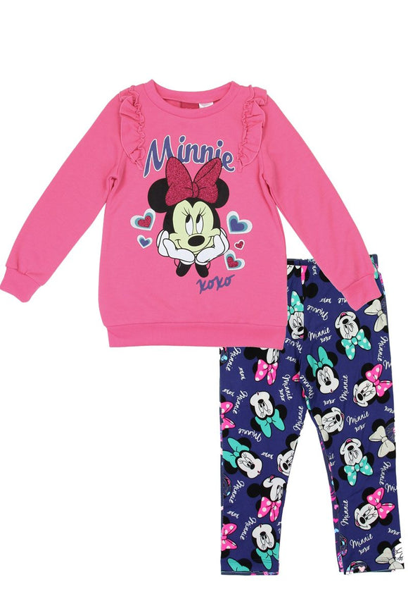Girls minnie mouse 2-4t 2-piece fleece top with leggings set - Style Forward
