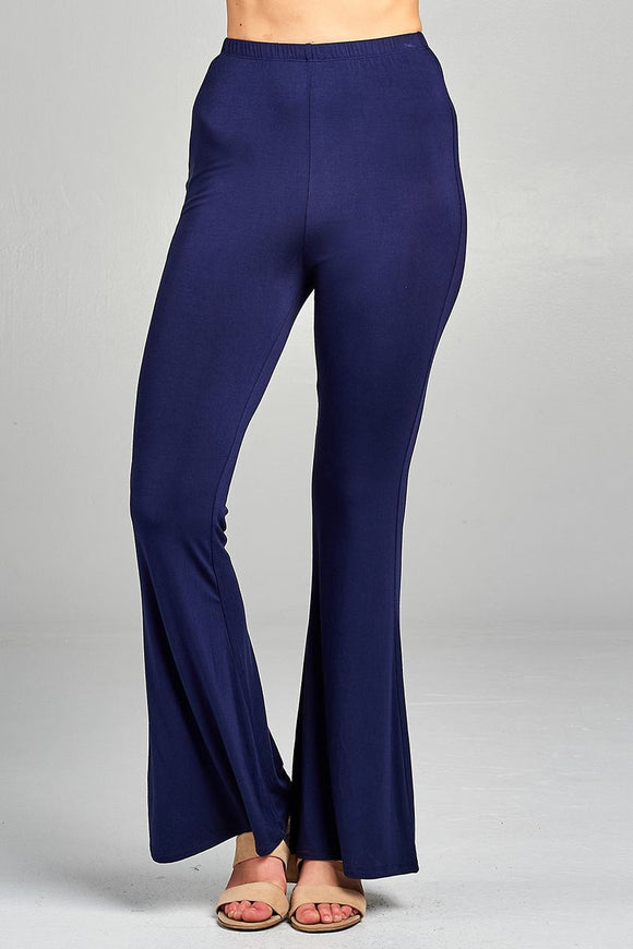 Ladies fashion bell bottom rayon spandex jersey long pants - Style Forward