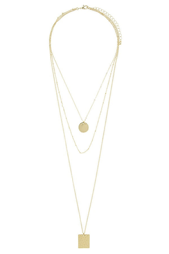 Square and circle disks multi layer necklace - Style Forward
