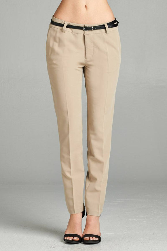 Ladies fashion classic woven pants w/ belt - Style Forward