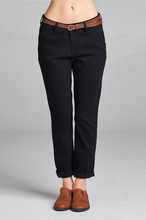 Ladies fashion cotton spandex twill long pants w/belt - Style Forward