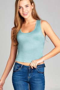 Ladies fashion v-neck smocked detail lettuce hem crop rayon spandex tank top