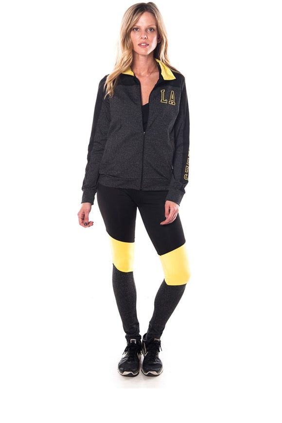 Ladies fashion active sport yoga / zumba 2 pc set zip up jacket & leggings outfit - Style Forward