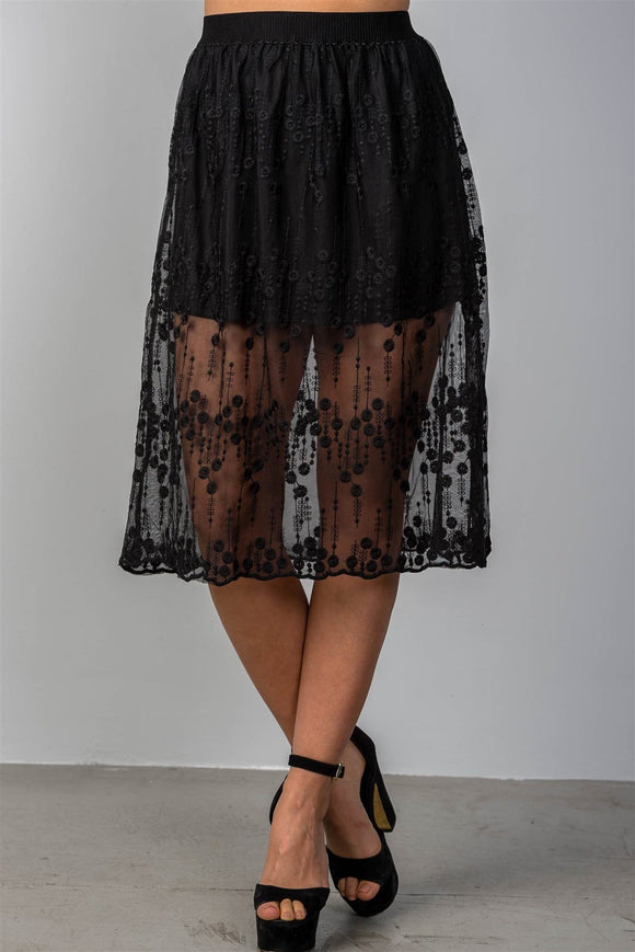 Ladies fashion boho elastic waist lined lace midi skirt - Style Forward