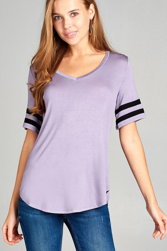 Ladies fashion short double stripe sleeve v-neck rayon spandex top - Style Forward