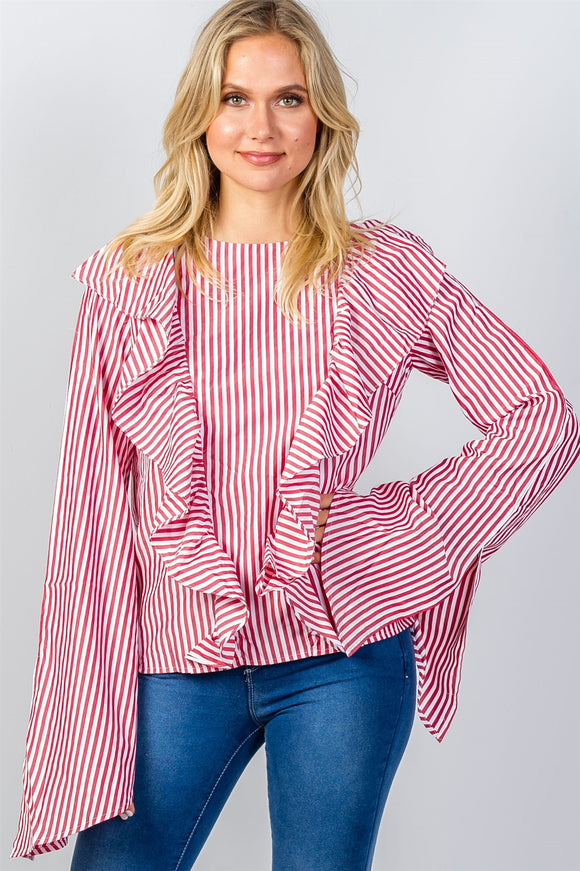Ladies fashion ruffle front striped slit sleeve shirt