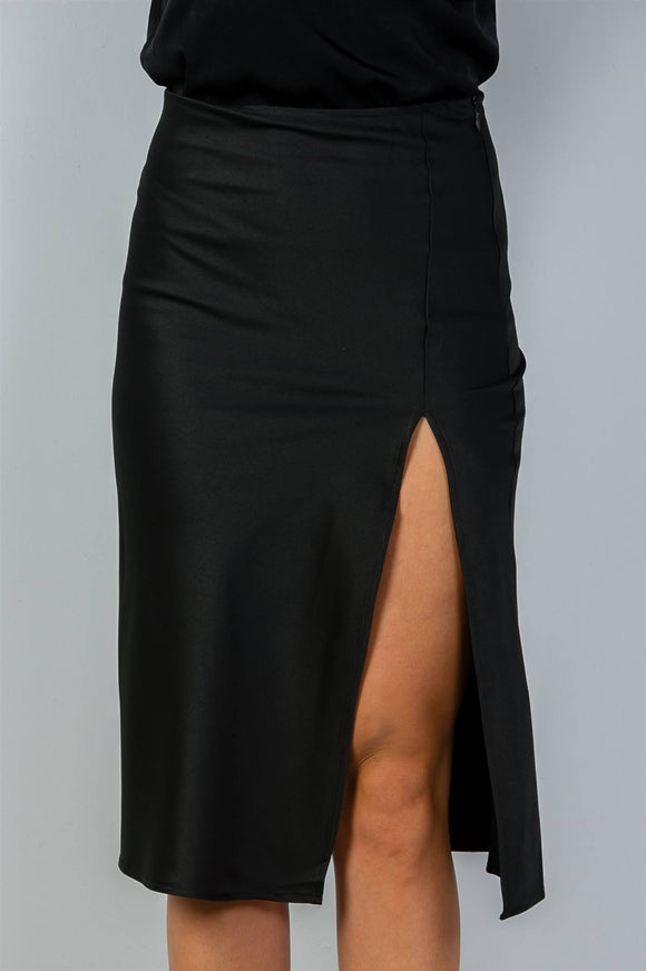 Ladies fashion side slit midi skirt - Style Forward
