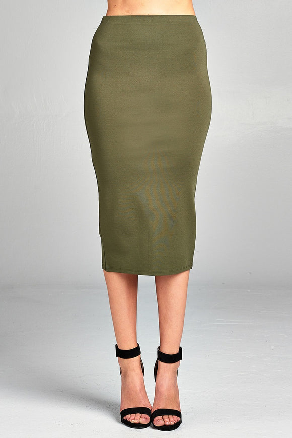 Ladies fashion ponte pencil midi skirt - Style Forward