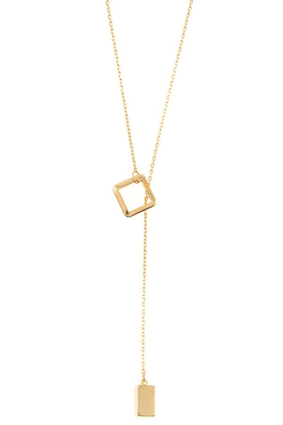 Square lariat pendant necklace